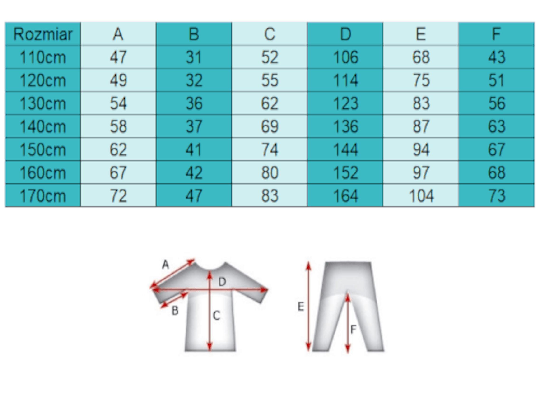 Judogi tabela rozmiarów